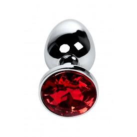 Большая серебристая коническая анальная пробка с красным кристаллом - 7,2 см.