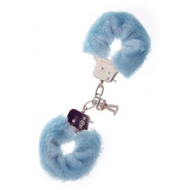 Голубые меховые наручники METAL HANDCUFF WITH PLUSH BLUE