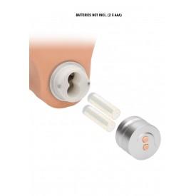 Телесный вибратор Vibrating Dildo With Balls - 25 см.